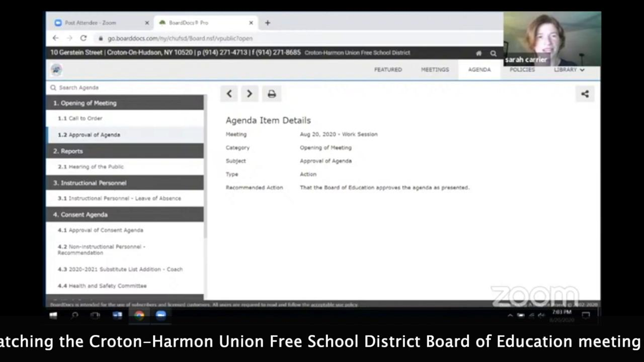 August 20, 2020 Board of Education Meeting
