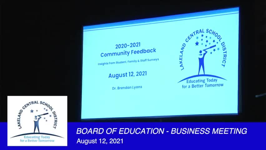 Board of Education Business Meeting August 12, 202...