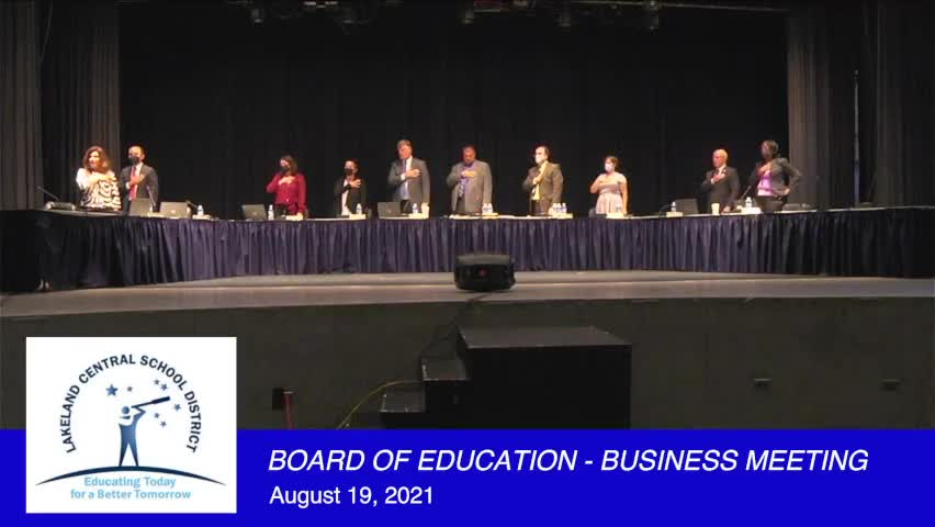 Board of Education Business Meeting August 19, 202...